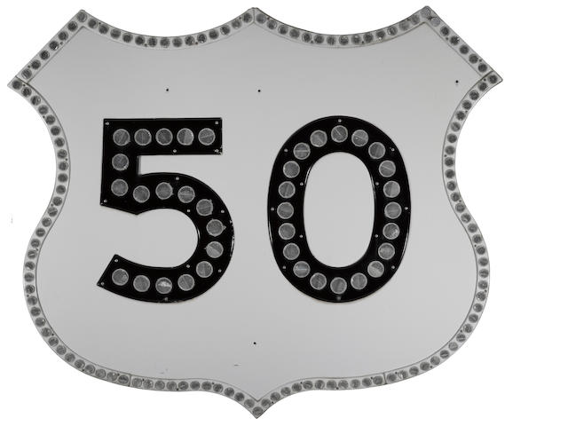 A large U.S. Highway 50, refletor sign, 1960's,