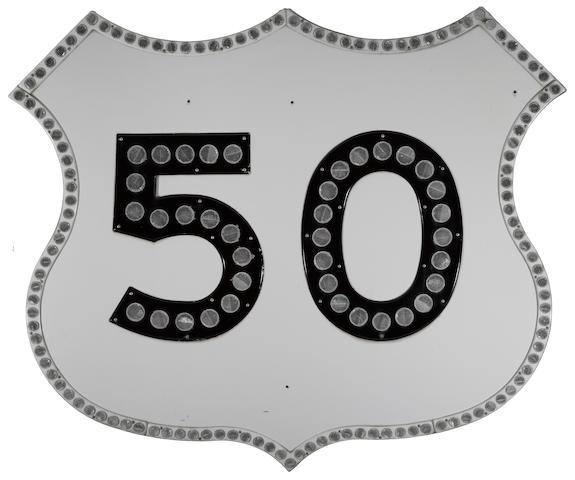 A large U.S. Highway 50, refletor sign, 1960's,