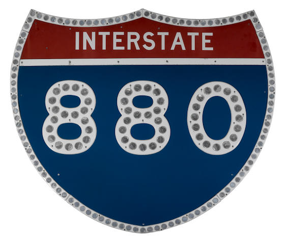 A large California Interstate 880, tin painted reflector sign,