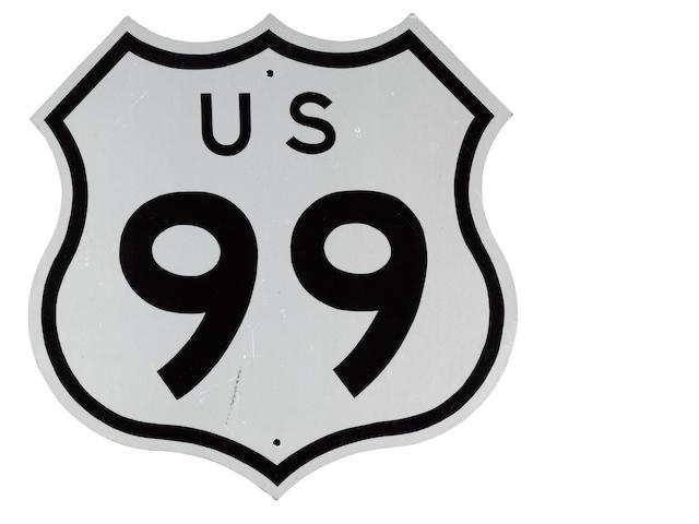 A U.S. Highway 99, sheild sign, 1970's,