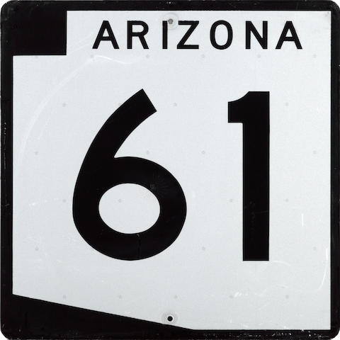 An Arizona State Highway 61, tin painted sign, 1970's