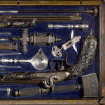 An extraordinary cased exhibition grade pair of Liegoise percussion pistols