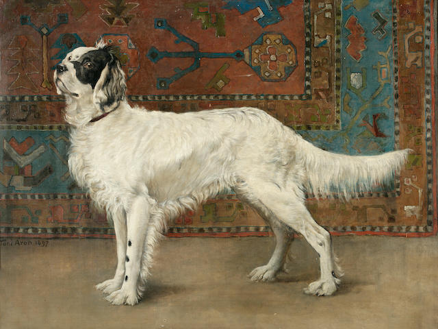 Tony Antol Aron (1859-1920), A study of a setter, Signed and dated 1897, Oil on canvas, 38 x 50 inches