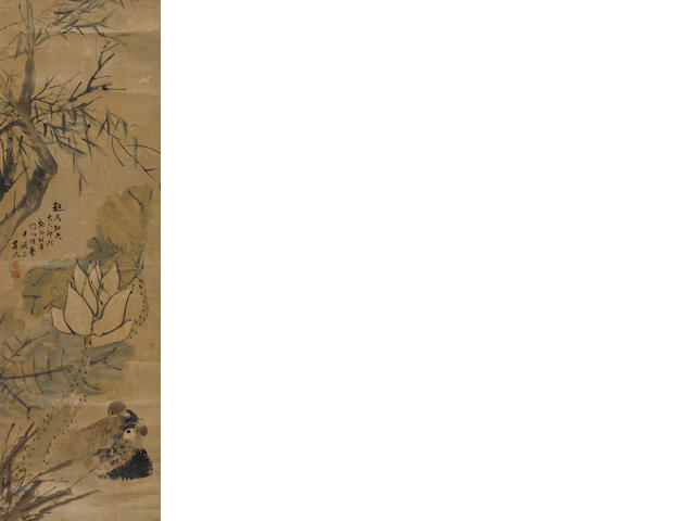 Attributed to Ren Yi (1840-1896) Lotus and Mandarin Ducks