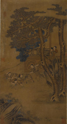 After Qiu Ying (19th century) Figures in a landscape