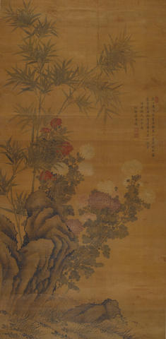 Chrysanthemum and Bamboo Attributed to Jiang Pu (1708-1761)
