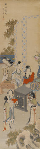 A hanging scroll by Huang Shanshou (1855-1919), Figures in a Landscape