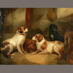 George Armfield (British, 1810-1893) Four dogs in a kennel 27 3/8 x 35 3/8 in. (69.5 x 89.7 cm.)