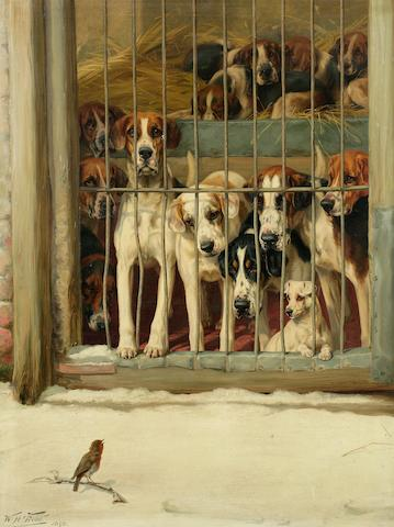 William Henry Hamilton Trood (British, 1860-1899) Hounds in a Kennel 36 1/4 x 28 in. (92 x 71 cm.)