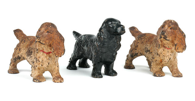 Three various cold-painted bronze Spaniels