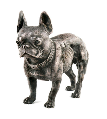 A silvered bronze figure of a French Bulldog