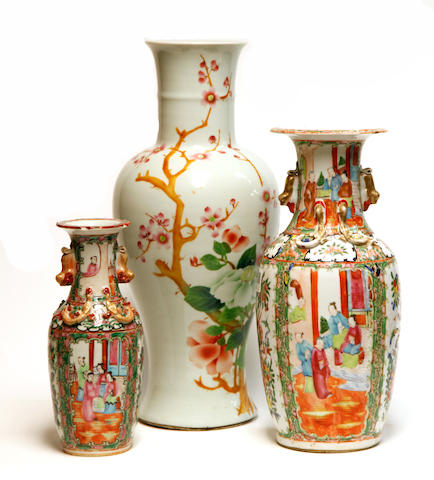 A group of three famille rose enameled porcelain vases Late Qing/Republic Period