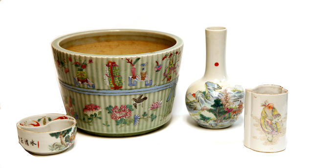 A group of four famille rose enameled porcelains Late Qing/REpublic period