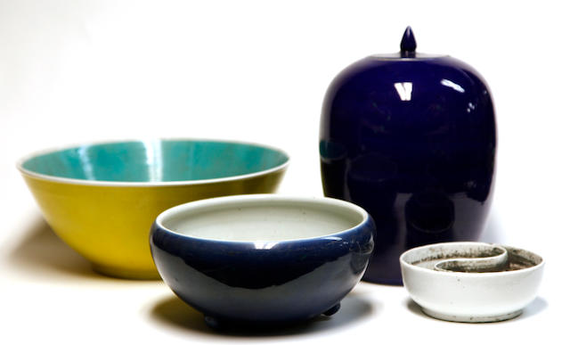 A group of four Chinese monochrome porcelains