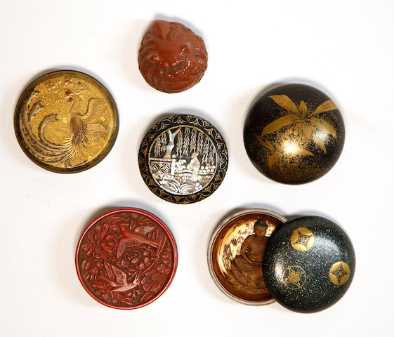 A group of six Japanese kogo (incense boxes)