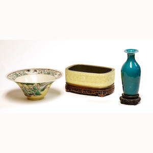 Three Chinese porcelains including a famille-verte biscuit bowl, molded yellow glazed oval dish and turquoise glazed vase