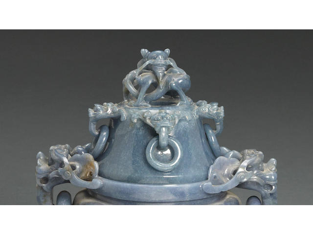 A blue jadeite tripod censer with loose-ring and dragon finial design 20th century
