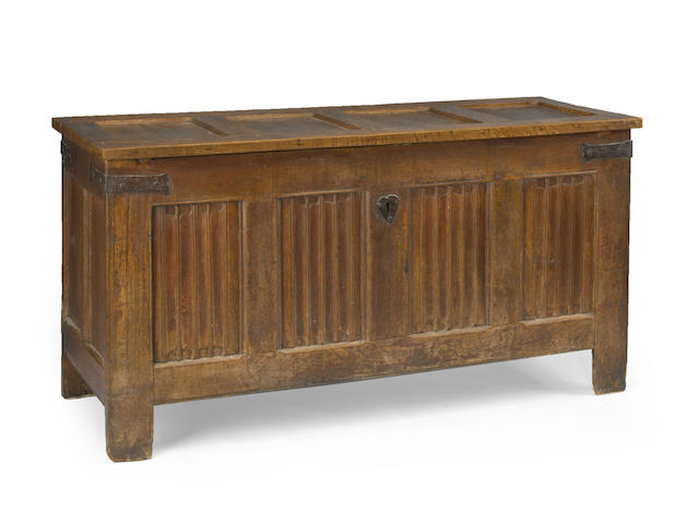 A Continental carved oak linen folded chest<BR />late 17th/early 18th century