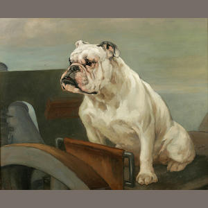 George Vernon Stokes (British, 1873-1954) English Bulldog at the defenses 25 x 30 in. (63.5 x 76.3 cm.)