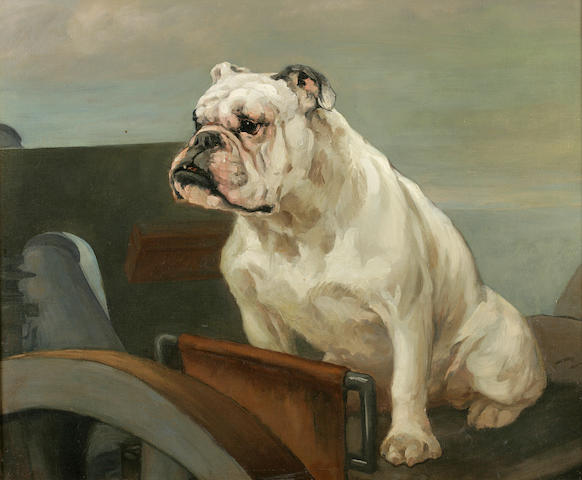 Attributed to George Vernon Stokes (British, 1873-1954) English Bulldog at the defenses 25 x 30 in. (63.5 x 76.3 cm.)