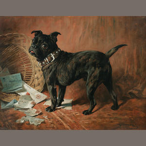 John Emms (British, 1843-1912) A naughty Black Pug 20 1/4 x 27 in. (51.9 x 68.6 cm.)