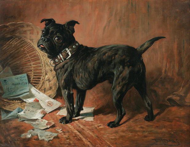 John Emms (British, 1843-1912) A naughty black pug 20 1/4 x 27in (51.9 x 68.6cm)