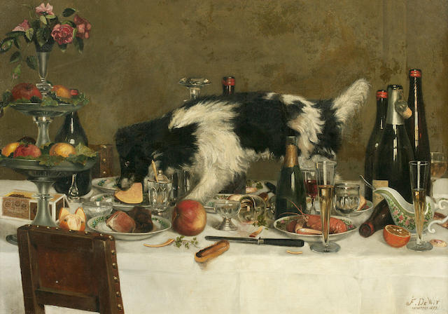 F. de Wit (Belgian) Buffet crasher 32 1/4 x 46 1/2 in. (81.9 x 118.1 cm.)