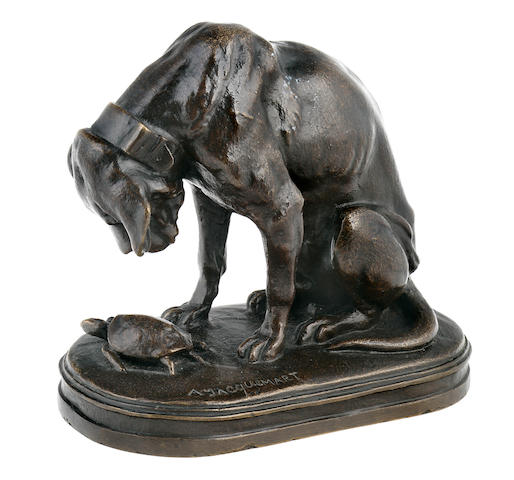 Alfred Jacquemart (French, 1824-1896) Hound and Tortoise height 6 1/2 in. (16.5 cm.)