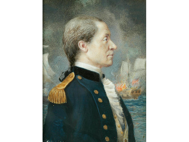 Attributed to Sarah Goodrich (American, 1788-1853) A portrait miniature of Captain John Paul Jones (1747-1792) 3-1/2 x 2-1/2 in. (