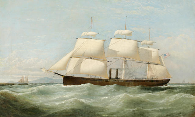 Samuel Walters (British, 1811-1882), circa 1857 The U.S. auxiliary steam frigate Niagara shortening sail off Point Lynas, Anglesea<BR />