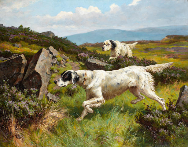 Alfred Duke (British, 1863-1905) Two Setters working a moor 28 1/8 x 36 in. (71.5 x 91.5 cm.)