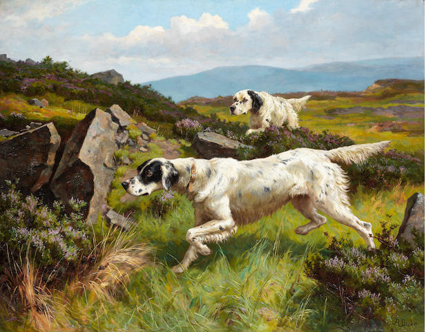 Alfred Duke (British, 1863-1905) Setters working a moor