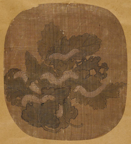 A Chinese fan painting on silk of silk worms