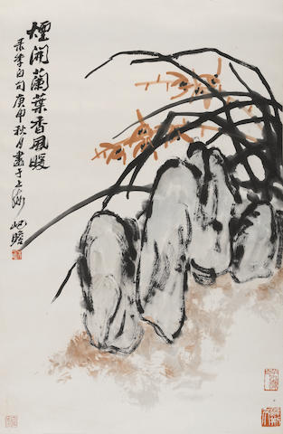 Zhu Qizhan (1892-1996) Orchids and rock, hanging scroll