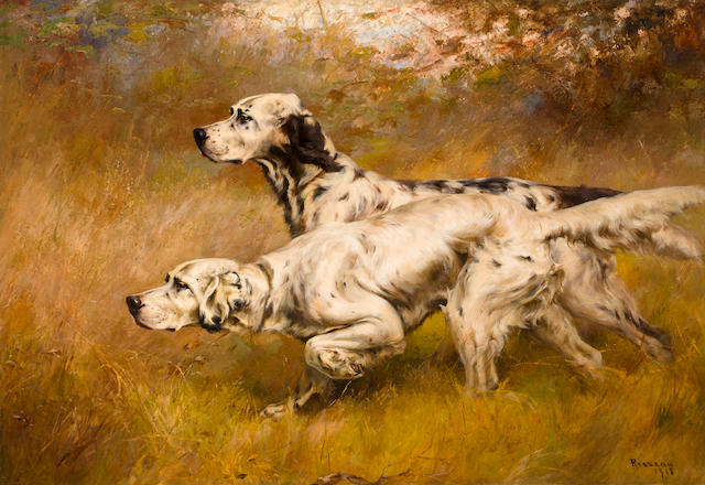 Percival Leonard Rosseau (American, 1859-1937) English Setters on point 35 3/4 x 51 7/8 in. (91 x 132 cm.)