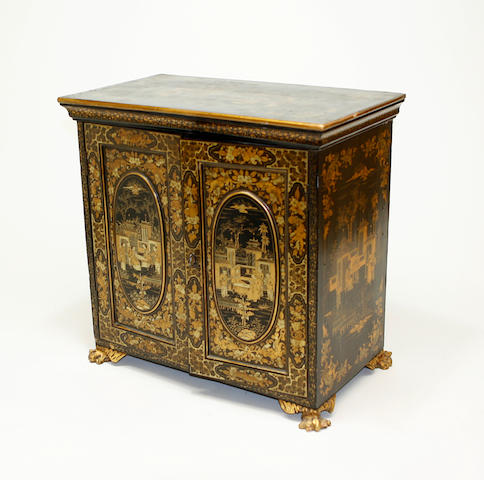 A Chinese export black lacquered and gilt decorated table cabinet mid 19th century