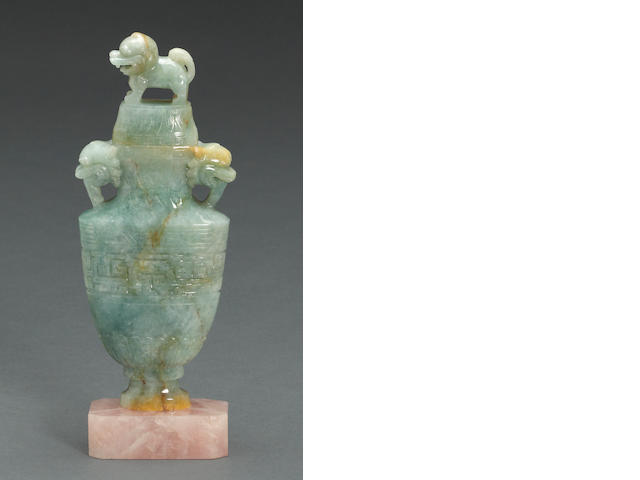 A jadeite covered vase
