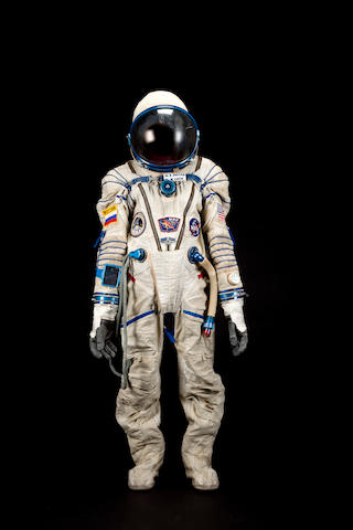 """SHANNON LUCID'S SPACE SUIT—MIR TRAINING. """"Sokol KV-2"""" (""""Falcon"""" in Russian) pressure suit, manufactured by Zvezda."""