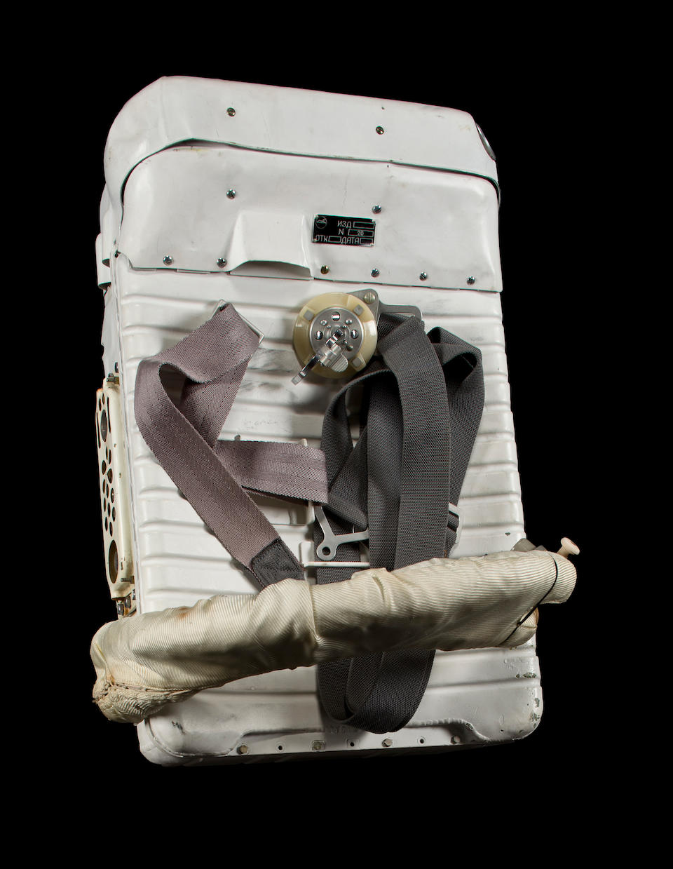 """YASTREB SPACE SUIT—DESIGNED FOR EVA. """"Yastreb"""" (""""Hawk"""" in Russian) pressure suit with vacuum shield / thermal protection oversuit and portable life support system,"""
