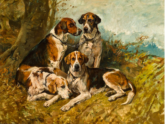 John Emms (British, 1843-1912) Hounds at Rest 19 3/4 x 25 3/4 in. (50.1 x 65.3 cm.)
