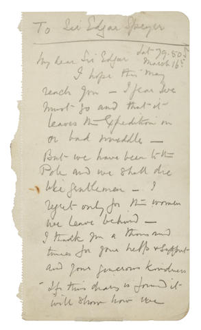 SCOTT (ROBERT FALCON) Autograph Letter Signed, 4 pages, 8vo, March 16, 1912, to Edgar Speyer