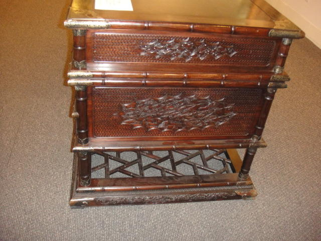 An elaborately carved hongmu desk Late 20th century