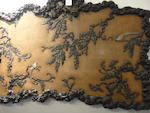 A fine jade and hardstone-inlaid lacquered wood panel of kingfishers and wisteria  19th century