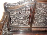 An elaborately carved zitan and hongmu throne chair  19th century
