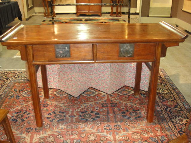 A huanghuali and mixed hardwood two drawer altar table Late 20th Century