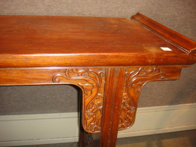 A huanghuali  recessed leg table, qiaotou'an Late 20th century