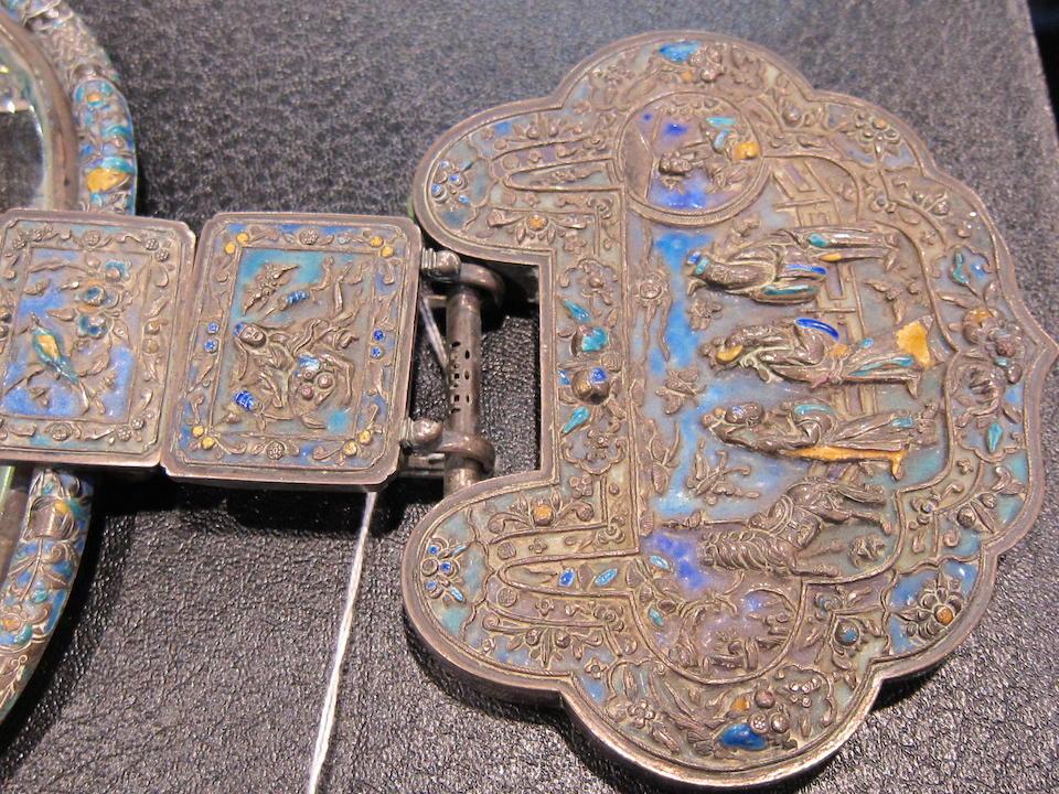 A polychrome enameled silver mirror Late Qing dynasty/Republic period
