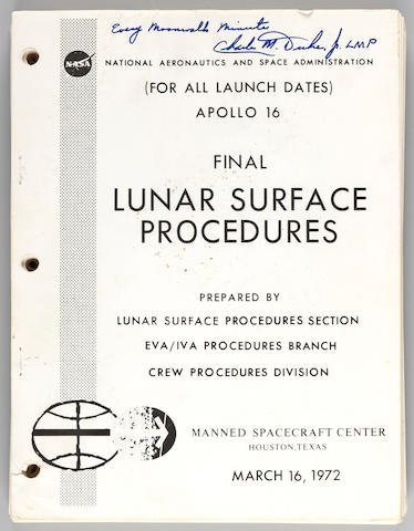 CHARLES M. DUKE'S SIGNED LUNAR SURFACE PROCEDURES MANUAL