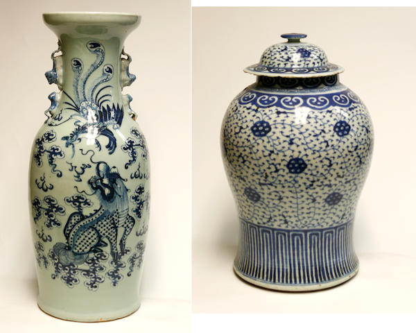 Two Chinese blue and white porcelain containers