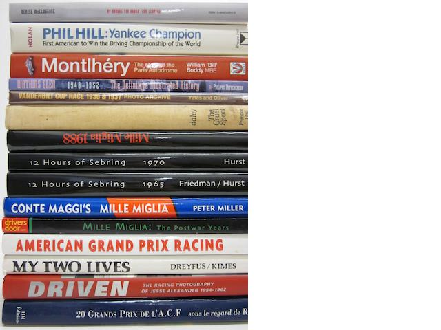 A quantity of racing titles, some inscribed,
